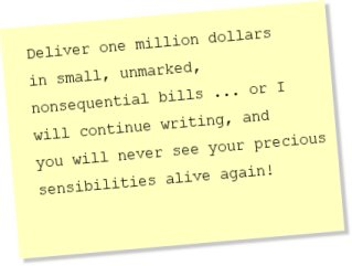 Deliver one million dollars in small, unmarked, nonsequential bills ...